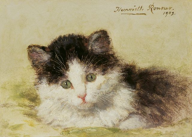 Henriette Ronner-Knip | A kitten, oil on panel, 13.7 x 18.9 cm, signed u.r. and dated 1903
