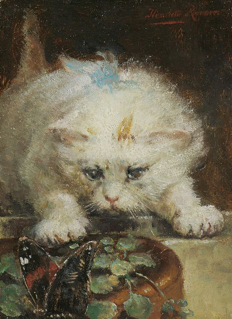 Henriette Ronner-Knip | On the prowl, oil on panel, 17.7 x 12.8 cm, signed u.r.