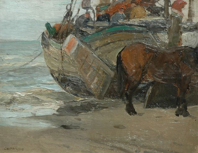 Charles Paul Gruppe | A fishingbarge on the beach, oil on canvas laid down on painter's board, 25.3 x 32.1 cm, signed l.l.