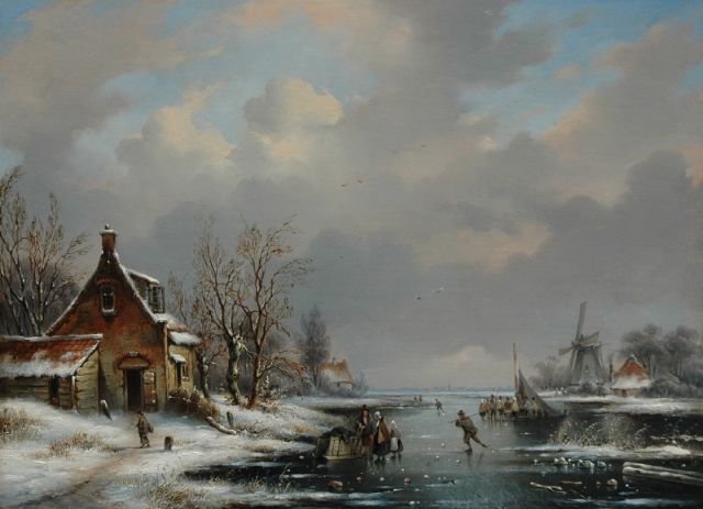 George Henry Hendriks | A winter scene with a mill, a farmer's shed and skaters on a frozen river, oil on panel, 28.6 x 39.2 cm