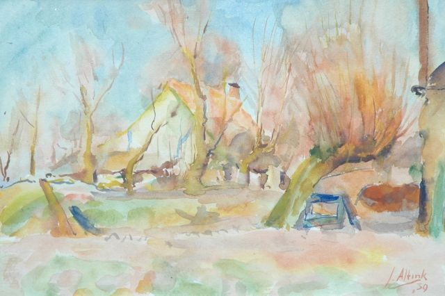 Jan Altink | Farmhouse behind pollard willows, watercolour on paper, 31.5 x 44.0 cm, signed l.r. and dated '39