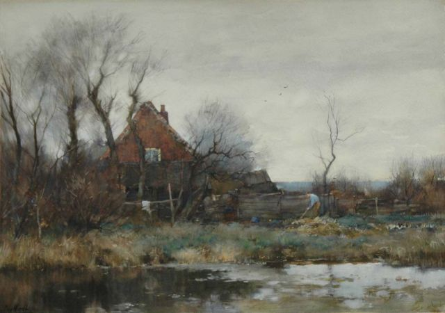 Chris van der Windt | Farms by the water, watercolour on paper, 48.2 x 66.7 cm, signed l.l.