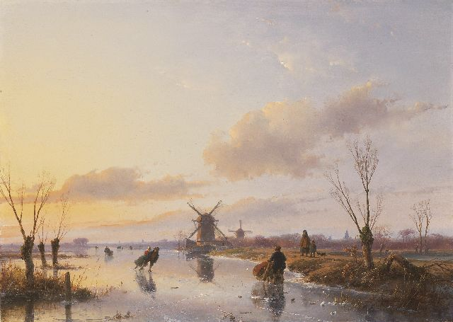 Andreas Schelfhout | Skaters on a Dutch waterway at sunset, oil on panel, 47.1 x 66.3 cm, signed l.r. and dated 1845