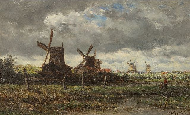 Willem Roelofs | A summer landscape with windmills and two anglers, oil on panel, 28.7 x 47.6 cm, signed l.r. and painted ca. 1872-1875