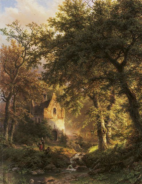 Barend Cornelis Koekkoek | A wooded landscape with a chapel at sunset, oil on panel, 97.3 x 80.4 cm, signed l.r. and dated 1850