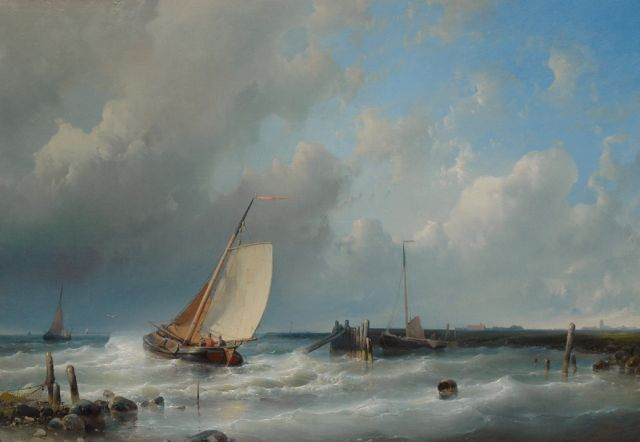 Abraham Hulk | Leaving the harbour, oil on canvas, 43.5 x 61.7 cm, signed l.r.