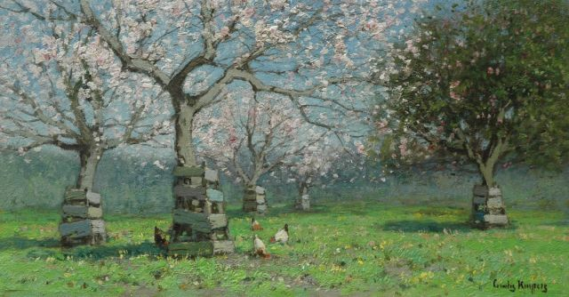 Cornelis Kuijpers | Blossoming trees, oil on canvas, 26.5 x 49.5 cm, signed l.r.