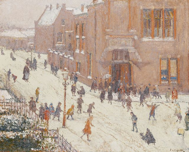 Ko Cossaar | Winter fun at the Christian Mulo at the Helmstraat, Scheveningen, oil on canvas, 52.3 x 66.2 cm, signed l.r. twice and dated '36