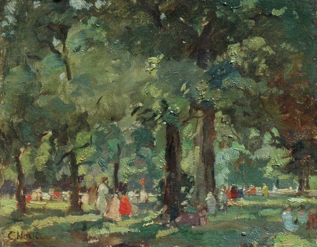 Cor Noltee | Summer in the park, oil on canvas laid down on panel, 31.7 x 39.2 cm, signed l.l.