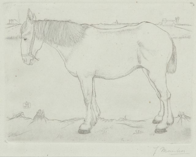 Jan Mankes | Standing horse, copper engraving on paper, 11.8 x 15.8 cm, signed l.r. in full and c.l. with monogram in the plate and executed in 1917