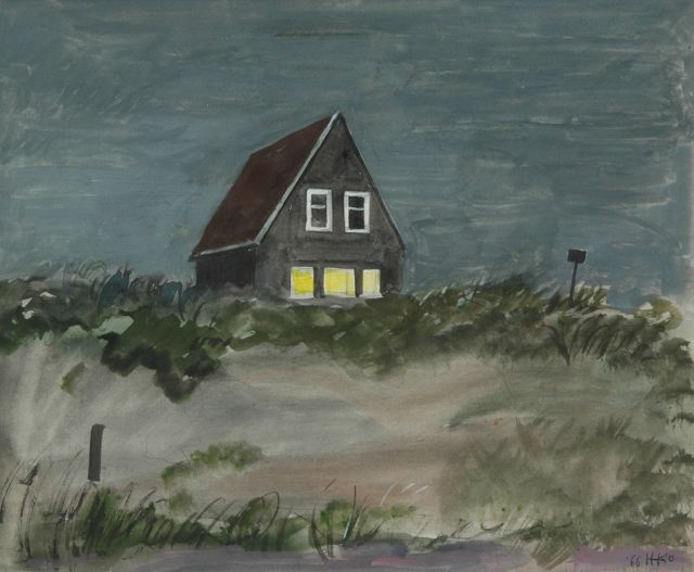 Harm Kamerlingh Onnes | House in the dunes, Terschelling, pencil and watercolour on paper, 23.5 x 28.4 cm, signed l.r. with monogram and dated '66