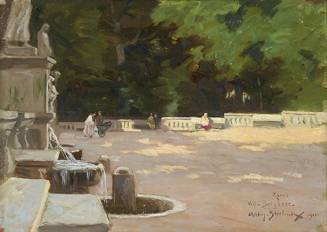 Willem Steelink jr. | Villa Borghese, Rome, oil on canvas laid down on panel, 28.2 x 37.2 cm, signed l.r. and dated 1911