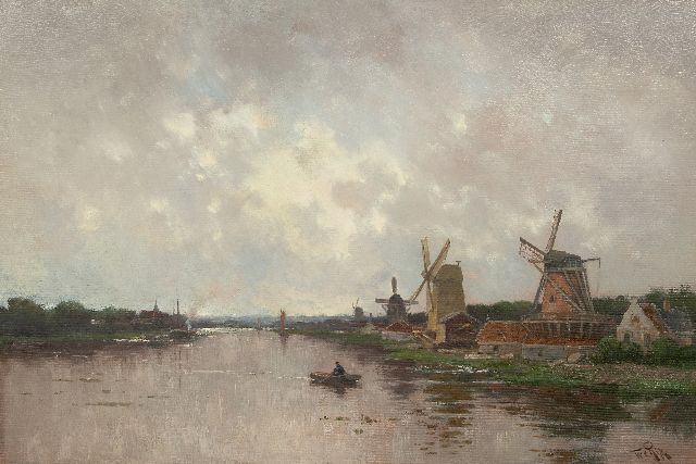 Willem Rip | Windmills along the Zaan river, oil on canvas, 62.8 x 90.6 cm, signed l.r.