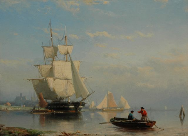 Johan Rust | Ships at anchor in a calm, oil on panel, 23.9 x 33.2 cm, signed l.r.