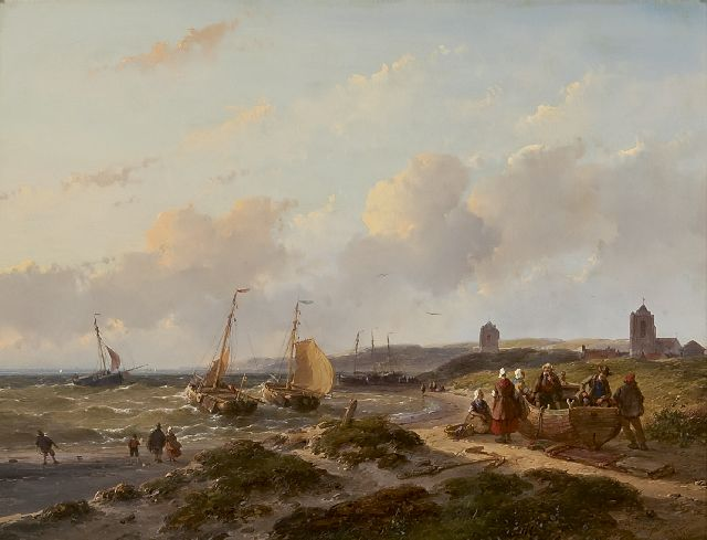Andreas Schelfhout | View on Katwijk, fishing boats along the shore, oil on panel, 33.5 x 44.0 cm, signed l.r. and dated '57