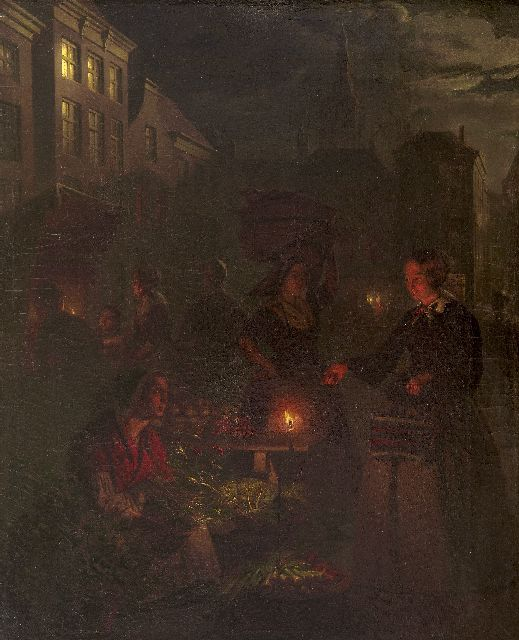 Petrus van Schendel | A moonlit market in The Hague, oil on canvas, 66.5 x 51.2 cm, executed 1855-1860