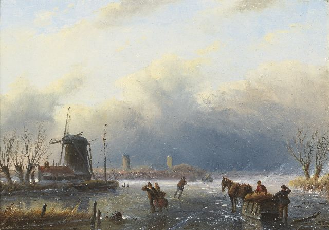 Jacob Jan Coenraad Spohler | A winter landscape with skaters and a horse-drawn sledge, oil on panel, 15.4 x 21.1 cm