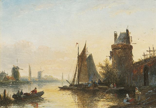 Jacob Jan Coenraad Spohler | Shipping on a river, oil on panel, 15.4 x 21.0 cm