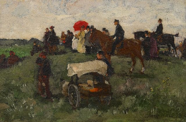 Akkeringa J.E.H.  | At the horseraces on Clingendael, oil on panel 16.5 x 25.0 cm, signed l.r. and painted ca. 1898