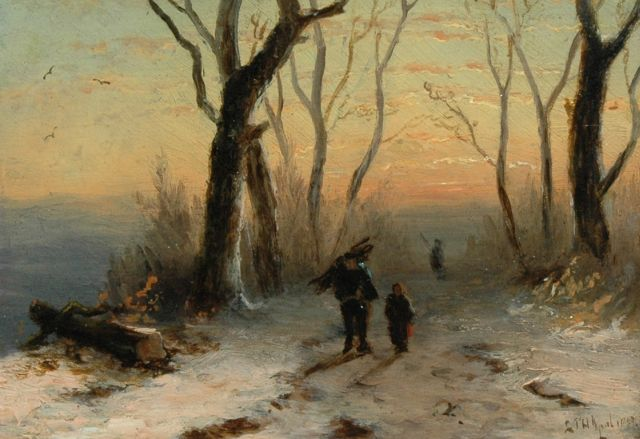 Louis Apol | Figures on a wintry country lane at sunset, oil on panel, 11.1 x 15.4 cm, signed l.r. and dated 1867
