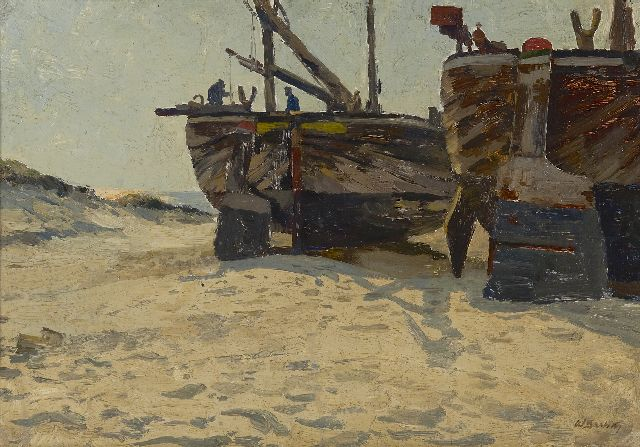 Bartsch W.  | Fishing boats on the beach, oil on canvas laid down on cardboard 34.3 x 49.1 cm, signed l.r.