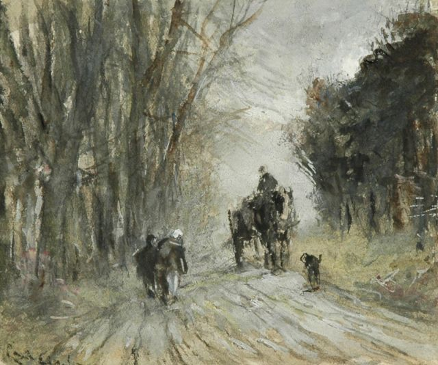 Louis Apol | Horse and carriage and figures on a snowy forest path, watercolour on paper, 10.8 x 13.4 cm, signed l.l. (vague)