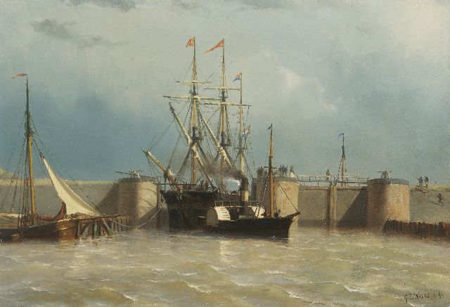George Lourens Kiers | Paddler towboat with a three-master near the Willemsluis, Amsterdam, seen from the IJ, oil on panel, 26.9 x 39.1 cm, signed l.r. and dated '60