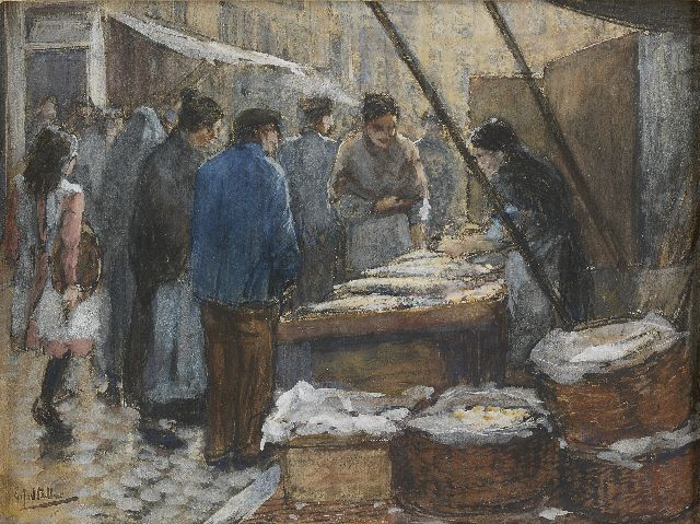 Gerard Johan Staller | Figures at a fish market stall, Amsterdam, watercolour and gouache on paper, 17.5 x 23.5 cm, signed l.l.