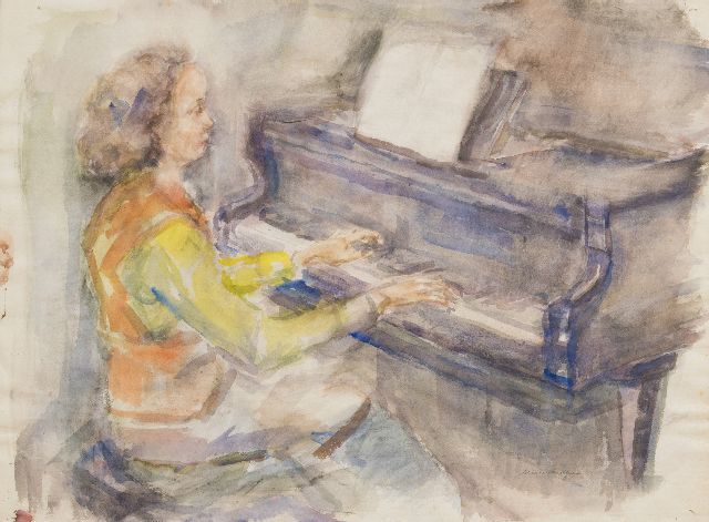 Elie Neuburger | Playing the piano, charcoal and watercolour on paper, 55.8 x 76.3 cm, signed l.r.