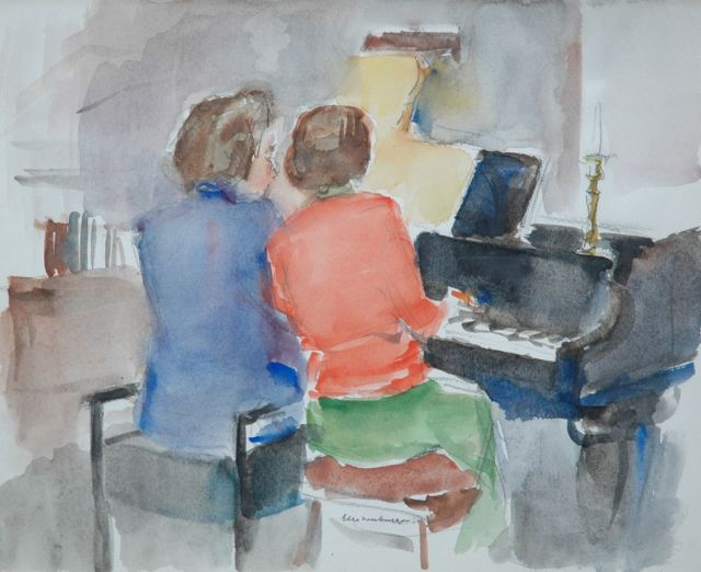 Neuburger E.  | Quatre-mains: two women making music, charcoal and watercolour on paper 31.0 x 38.0 cm, signed l.m. and dated '54