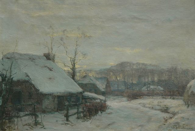 David Schulman | Afternoon in winter, Laren: first snow, oil on canvas, 44.7 x 64.5 cm, signed l.r.