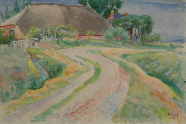 Jan Altink | Road along a farm, Groningen, watercolour on paper, 38.0 x 57.0 cm, signed l.r. and dated '56