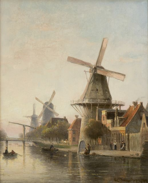 Cornelis Christiaan Dommelshuizen | Windmill 'De Rosenboom' near the Overtoom, Amsterdam, oil on panel, 28.4 x 23.1 cm, signed l.r. and dated 1898