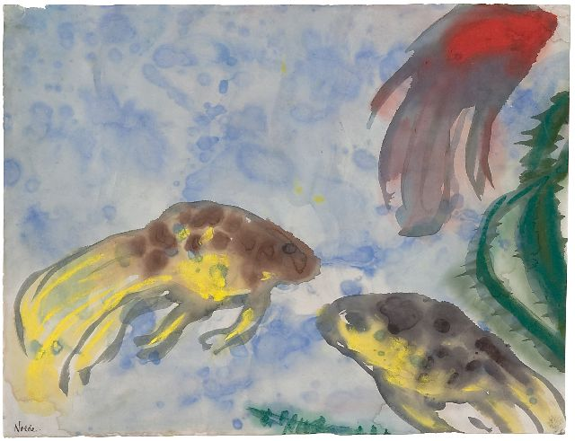 Nolde (Hans Emil Hansen) H.E.  | Veiltails (Aquarium), watercolour on Japanese paper 35.8 x 47.0 cm, signed l.l. and painted in Berlin ca. 1923-1924