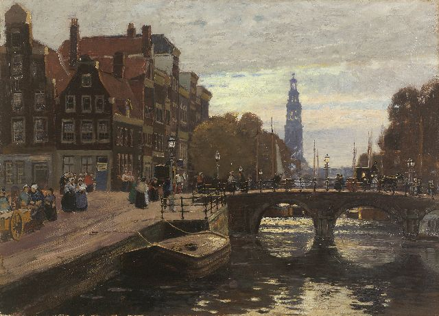 Heinrich Hermanns | A View of the Prinsengracht, Amsterdam, oil on canvas, 44.6 x 61.7 cm, signed l.l.