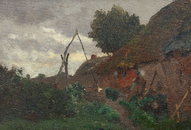 Gabriel P.J.C.  | Farmyard with well, oil on canvas 29.2 x 41.8 cm, signed l.l.