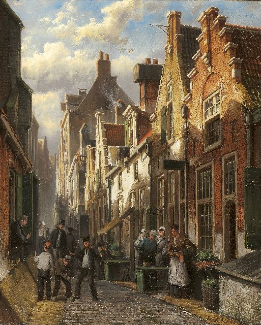Willem Koekkoek | Dutch street scene at late afternoon, oil on panel, 35.2 x 27.8 cm, signed l.r.