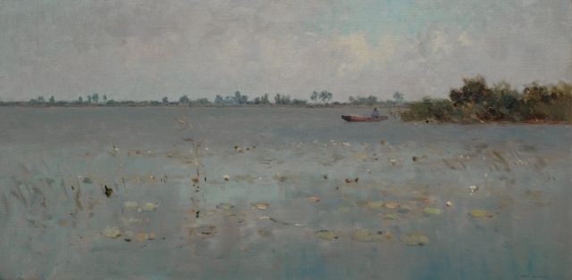 Aris Knikker | Man in a boat on a lake, oil on canvas, 40.5 x 80.4 cm, signed l.r.