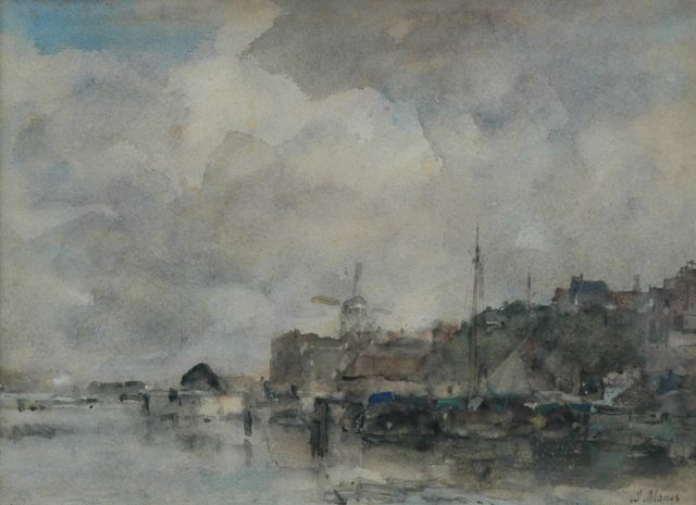 Jacob Maris | View of a Dutch harbour, watercolour on paper, 28.5 x 38.6 cm, signed l.r.