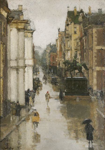 Floris Arntzenius | View of the Noordeinde, The Hague, oil on canvas, 62.4 x 43.5 cm, signed l.l.
