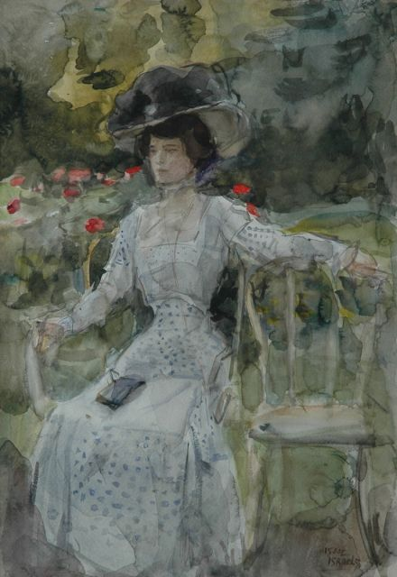 Israels I.L.  | An elegant lady in a park, watercolour on paper, 51.0 x 36.0 cm, signed l.r.