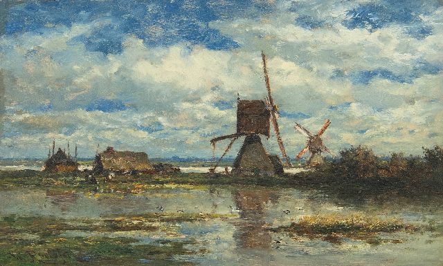 Roelofs W.  | Two windmills in the Stolwijk polder (near Gouda), oil on panel 14.8 x 24.0 cm, signed l.l. and painted ca. 1872-1875