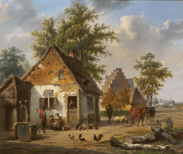 Charles  Venneman | Lively farmstead, oil on panel, 42.3 x 50.7 cm, signed l.l. and dated 1851
