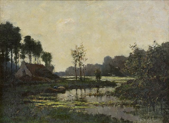 Frits Mondriaan | Farmhouse along a stream, oil on canvas laid down on board, 47.6 x 63.5 cm, signed l.r.