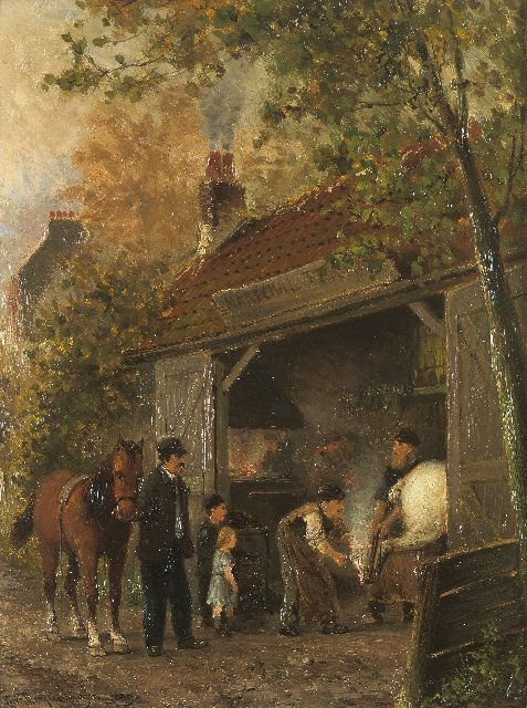 Cornelis Christiaan Dommelshuizen | At the blacksmith, oil on panel, 34.9 x 26.4 cm, signed l.l. and dated 1889