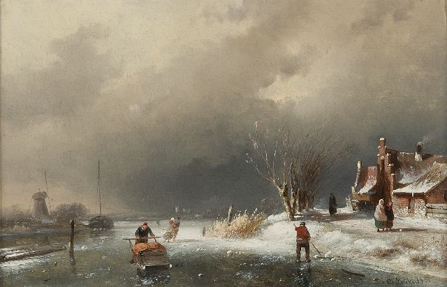 Charles Leickert | A cold winter's day, oil on panel, 18.5 x 28.1 cm, signed l.r. and dated '61