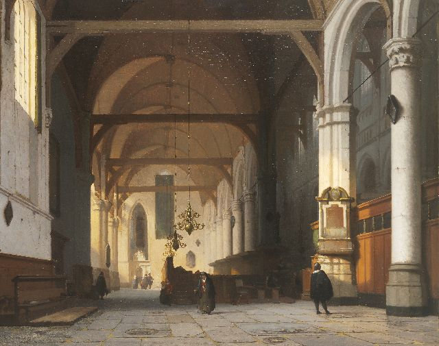 Jan Jacob Schenkel | The interior of the 'Oude Kerk', Amsterdam, oil on panel, 49.7 x 63.0 cm, signed l.r. (on the pillar)