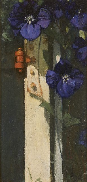 Jacobus van Looy | Clematis, oil on panel, 50.2 x 24.8 cm, signed l.r. with initials