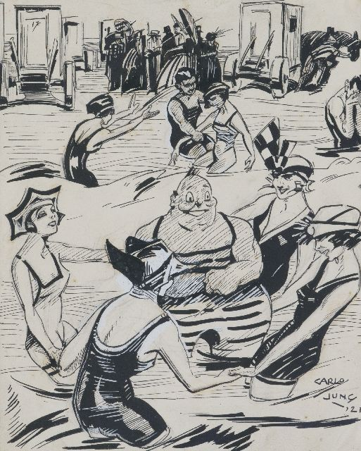 Jung C.H.  | Beach party, Indian ink on paper 22.0 x 24.0 cm, signed l.r. and dated '21