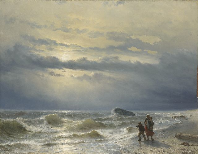 Louis Meijer | Shipwreck, oil on canvas, 88.8 x 115.4 cm, signed l.l. and dated 1864
